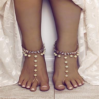 Mulheres Caído Bling Bling Imitação de Pérola Tornezeleira Jóias Dourado / Prata Para Rua Para Noite / Strass