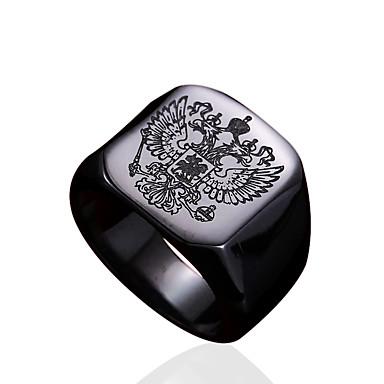 preiswerte Ringe Silber-Herrn Ring Siegelring Gold Schwarz Silber Edelstahl Titanstahl Personalisiert Modisch Militär Alltag Normal Schmuck Familienwappen