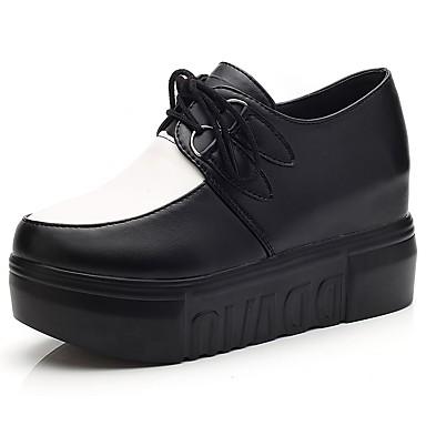 Mujer Zapatos PU Primavera verano Confort Oxfords Media plataforma Blanco / Negro 63Q0kJJ4