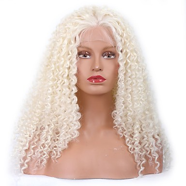 Synthetic Lace Front Wig Kinky Curly Baby Hair Synthetic Hair Middle Part Sew / 100% kanekalon hair White Wig Women's Medium Length Lace Front