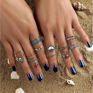billige Motering-Dame Ring Krystall Sølv Krystall Legering damer Bohemsk Rock Avslappet Formell Smykker Sol Blomst