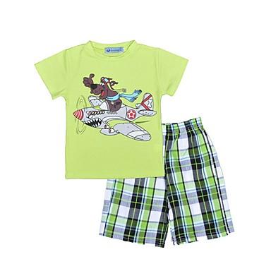 povoljno Odjeća za dječake-Dijete koje je tek prohodalo Dječaci Karirani uzorak Print Kratkih rukava Regularna Normalne dužine Pamuk Komplet odjeće Svijetlo zelena