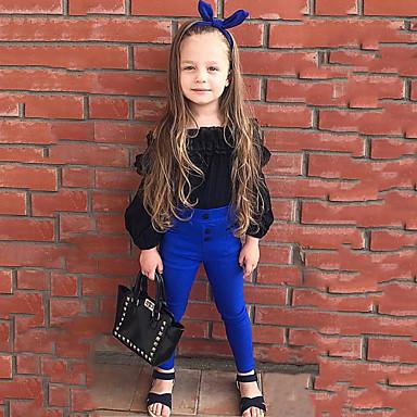 preiswerte Sommerkleidersets für Mädchen-Baby Mädchen Solide Langarm Standard Standard Baumwolle Kleidungs Set Schwarz