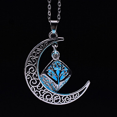 cheap Luminous Jewelry-Women's Luminous Stone Pendant Necklace Engraved Moon Crescent Moon Ladies Fashion Luminous Luminous Stone Alloy Light Blue Light Green Necklace Jewelry For Halloween Club