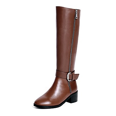 Women's Shoes Leather Winter Riding Boots Fashion Boots Boots Chunky Heel Round Toe Knee High Boots Buckle Zipper Casual Dress Black
