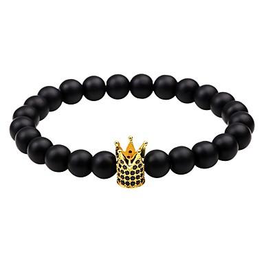 voordelige Herensieraden-Heren Dames Obsidiaan Kralenarmband Kroon chakra Eenvoudige Stijl Equilibrio Zirkonia Armband sieraden Zwart / Zilver / Goud Rose Voor Causaal Uitgaan