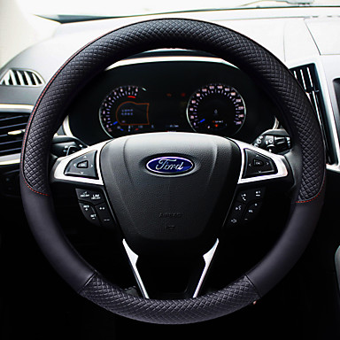 cheap Steering Wheel Covers-Two-tone Stitching PU Leather Non-slip Durable 38cm Steering Wheel Covers Coffee / Black / Purple / Black / White For Ford Focus / Escort / Fiesta