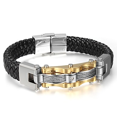 voordelige Herensieraden-Heren Lederen armbanden Rock Hip-hop Leder Armband sieraden Zwart Voor Feest Verjaardag Lahja Avond Feest / Titanium Staal