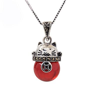 levne Dámské šperky-Dámské Synthetic Ruby Obojkové náhrdelníky Náhrdelníky s přívěšky Kočka Módní Cute Style Stříbro Stříbrná Náhrdelníky Šperky Pro Denní Ležérní