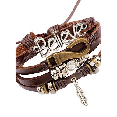 voordelige Herensieraden-Heren Lederen armbanden geweven Veer Vintage Leder Armband sieraden Bruin Voor Toneel Club