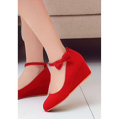 cheap Women's Heels-Women's Heels Lace up Wedge Heel Round Toe Bowknot / Buckle Nubuck leather Comfort / Ankle Strap Spring / Fall Red / Black / Wedding / Party & Evening / 2-3 / Party & Evening / EU39