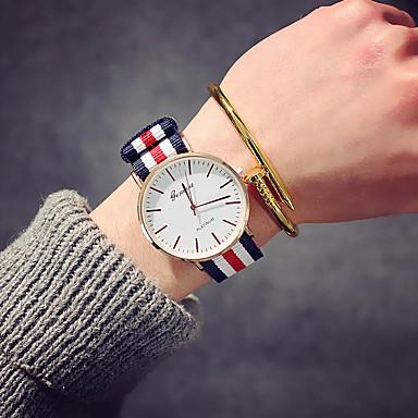 preiswerte Luxusuhren-Damen Uhr Armbanduhr Quartz Nylon Schwarz / Braun Analog damas Luxus Retro Freizeit Modisch Rosa Weiß / Rot Marine / Rot / Weiß