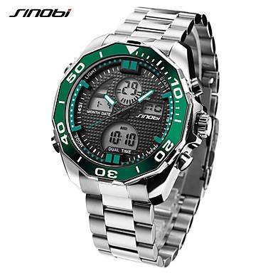 levne Pánské-SINOBI Pánské Sportovní hodinky Náramkové hodinky Digitální hodinky japonština Digitální Nerez Stříbro 30 m LED Cool Analog - Digitál Luxus Na běžné nošení - Tmavě zelená