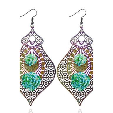 Mulheres Brincos Compridos Geométrico senhoras Personalizada Fashion Aço Inoxidável Brincos Jóias Verde Para Presente Casual