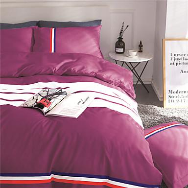ensembles housse de couette couleur pleine 4 pi ces. Black Bedroom Furniture Sets. Home Design Ideas
