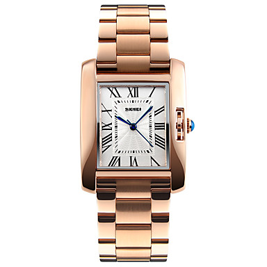 cheap Square & Rectangular Watches-SKMEI Women's Ladies Wrist Watch Gold Watch Square Watch Quartz Luxury Water Resistant / Waterproof Stainless Steel Silver / Rose Gold Analog - Rose Gold Silver Two Years Battery Life / Japanese