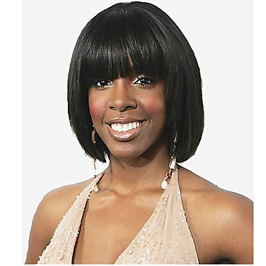 Synthetic Wig Straight Bob Haircut Synthetic Hair Black Wig Women's Short Capless