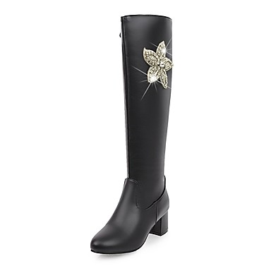 Women's Shoes Leatherette Winter Fall Riding Boots Fashion Boots Boots Chunky Heel Round Toe Knee High Boots Rhinestone Sparkling Glitter