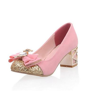 ราคาถูก ส้นรองเท้า-สำหรับผู้หญิง รองเท้าส้นสูง ส้นหนา ปลายกลม ปมผ้า ขนแกะ ความสะดวกสบาย / ความแปลก ตก สีดำ / น้ำเงินเข้ม / สีชมพู / งานแต่งงาน / แต่งตัว / 2-3