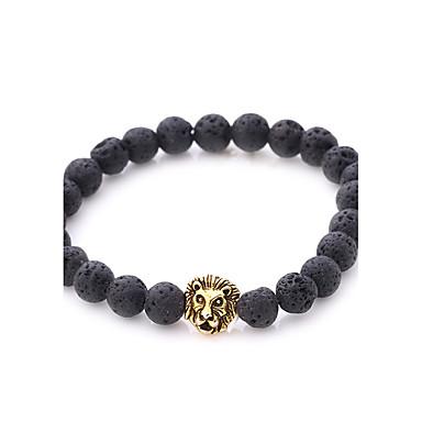 levne Pánské šperky-Pánské Dámské Onyx Korálkový náramek Náramek Lev příroda Punk Kámen Náramek šperky Zlatá / Stříbrná Pro Párty Dar