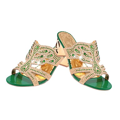 cheap Women's Sandals-Women's Sandals Glitter Crystal Sequined Jeweled Summer Block Heel Open Toe Vintage Party & Evening Rhinestone Solid Colored PU Black / Green / Royal Blue / EU40