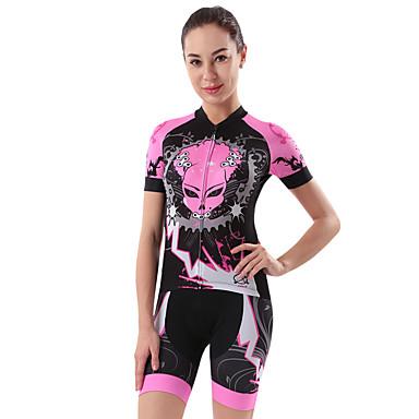 Cheji Women S Short Sleeve Cycling Jersey With Shorts Pink Bike