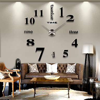 billige Hjemme Dekor-frameless diy vegg klokke, 3d speil vegg klokke stor mute vegg klistremerker for stue soverom hjem dekorasjon