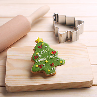 2 19 Christmas Pine Tree Shape Cookie Cutters Fruit Cut Molds Stainless Steel Cake Mold