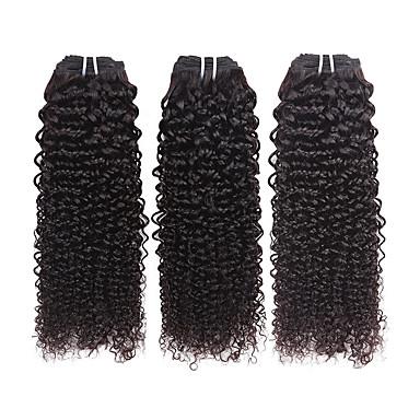 3 pacotes Cabelo Brasileiro Encaracolado Cabelo Humano Cabelo Humano Ondulado 8-26 polegada Tramas de cabelo humano Extensões de cabelo humano