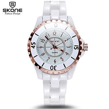 levne Pánské-Pánské Dámské Sportovní hodinky Vojenské hodinky Inteligentní hodinky Křemenný Keramika Bílá Kalendář kreativita Cool Analogové Přívěšky Luxus Skládaný Módní Elegantní - Zlatá Stříbrná Dva roky