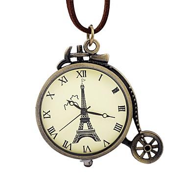 levne Pánské-Pánské Dámské Kapesní hodinky Mechanické manuální natahování Kůže Hnědá S dutým gravírováním Velký ciferník Analogové Vintage Eiffelova věž - Bronzová