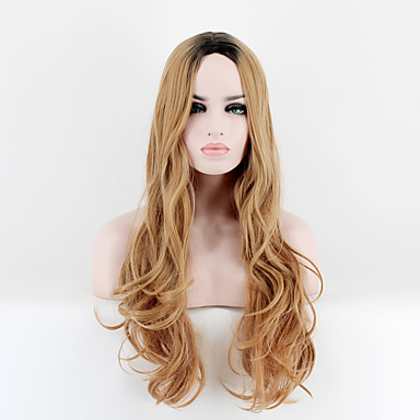 preiswerte Karneval - Perücken-Synthetische Perücken Glatt Gerade Perücke Blond Lang Sehr lang Rotblond Synthetische Haare Damen Gefärbte Haarspitzen (Ombré Hair) Blond