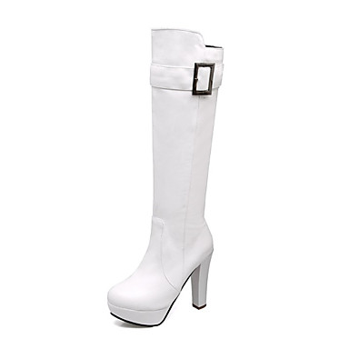 82b6139ae5a Women s Shoes Leatherette Winter Fashion Boots Boots Chunky Heel Round Toe  Knee High Boots for Casual Dress White Black Yellow 6229004 2019 –  39.99