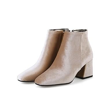 billige Utvalgte tilbud-Dame Støvler Velvet Boots Tykk hæl Kvadratisk Tå Glidelås Fløyel Ankelstøvler Komfort / Trendy støvler Vår / Høst Grønn / Vin / Mandel / Bryllup / Fest / aften / EU42