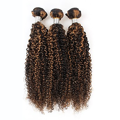 povoljno Ekstenzije od ljudske kose-3 paketa Peruanska kosa Kovrčav Virgin kosa Ombre 10=22 inch Isprepliće ljudske kose Proširenja ljudske kose / 10A