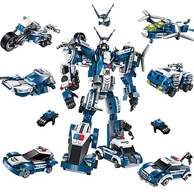 cheap Building Blocks-ENLIGHTEN Robot Building Blocks Military Blocks 577 pcs Robot Police City compatible Legoing New Design DIY Contemporary Classic Classic & Timeless Plane Fighter Boys' Girls' Toy Gift / Kid's