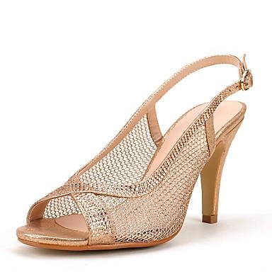 Mujer Zapatos Semicuero Verano Tacón Cuadrado Rojo / Rosa / Dorado / Sandalias de Tacón W1yrKqOVe