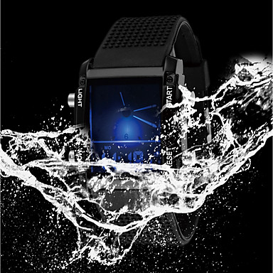 cheap Square & Rectangular Watches-Men's Ladies Sport Watch Military Watch Digital Watch Quartz Casual Water Resistant / Waterproof Silicone Rubber Black / White Analog - Digital - White Black / Stainless Steel / Calendar / date / day