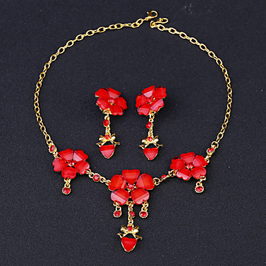 levne Dámské šperky-Dámské Kubický zirkon Synthetic Ruby Peckové náušnice Náhrdelník Princezna Kytky Luxus Módní Zirkon Pozlacené Náušnice Šperky Červená Pro Svatební Párty / Náhrdelníky