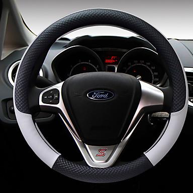 billige Interiørtilbehør til bilen-Rattovertrekk til bilen Lær 38 cm kaffe / Svart / Lilla / Svart / Hvit Til Ford Focus / Escort / Fiesta Alle år
