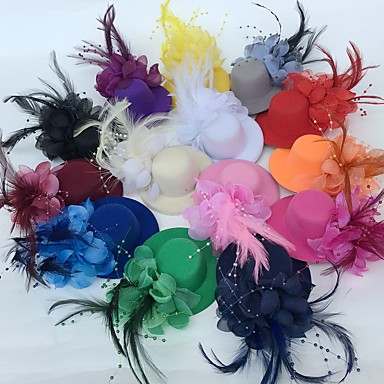 cheap Party Accessories-Tulle / Feather Fascinators / Flowers / Hats with Floral 1pc Wedding / Special Occasion / Party / Evening Headpiece