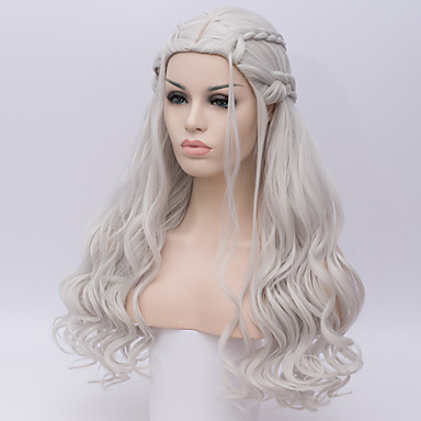 Perucas sintéticas / Perucas de Fantasia Onda Profunda Kardashian Estilo Sem Touca Peruca Branco Prateado Cabelo Sintético Mulheres Branco Peruca Longo