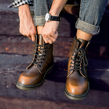 cheap Men's Boots-Men's Martin Boots Fall / Winter Vintage / British Daily Outdoor Boots Walking Shoes Leather Waterproof Non-slipping Wear Proof Red / Brown / Black / Rivet / EU40