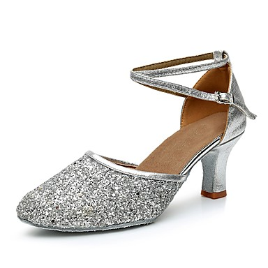 povoljno Clearance-Žene Plesne cipele Sitne šljokice / Prilagođeni materijali Moderna obuća Štikle Potpetica po mjeri Moguće personalizirati Crn / Zlato / Srebro / Unutrašnji / EU40