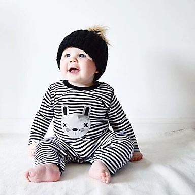 povoljno Odjeća za bebe-Dijete Djevojčice Na prugice Jedna barva / Dungi Dugih rukava Pamuk Kombinezon Crn