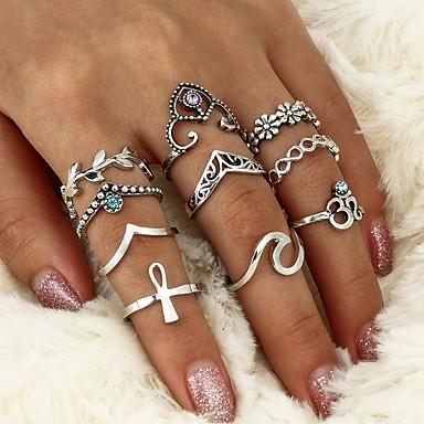 billige Motering-Dame Ring Krystall Sølv Krystall Legering damer Uvanlig Geometrisk Avslappet Formell Smykker geometriske Blad Formet Bølge