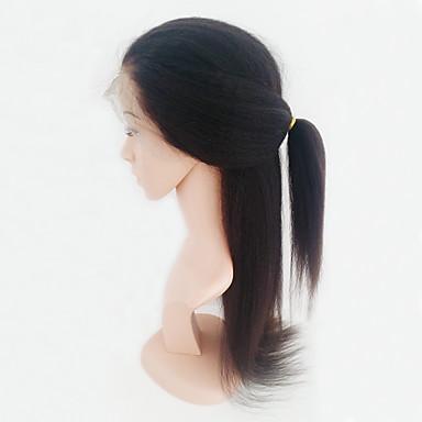 Cabelo Humano Frente de Malha Peruca estilo Cabelo Brasileiro Kinky Liso Peruca 130% Densidade do Cabelo com o cabelo do bebê Peruca Afro Americanas 100% Feita a Mão Mulheres Médio Perucas de Cabelo