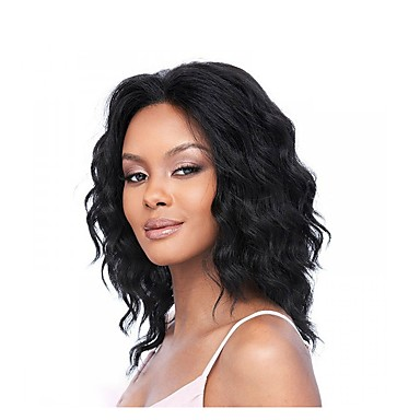 Human Hair Glueless Full Lace Full Lace Wig Bob Middle Part style Brazilian Hair Wavy Wig 130% Density Baby Hair Natural Hairline African American Wig Women's Short Medium Length Human Hair Lace