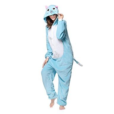 Adulto Pijamas Kigurumi Gato Pijamas Macacão Flanela Tosão Azul Cosplay Para Homens e Mulheres Pijamas Animais desenho animado Festival / Celebração Fantasias