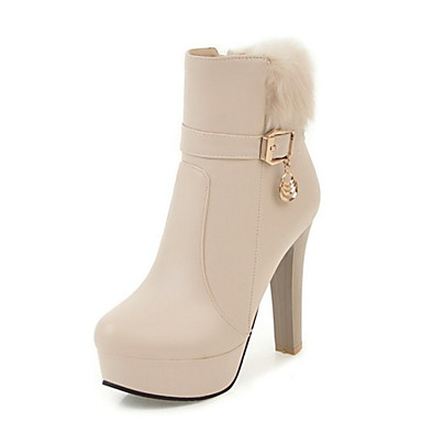 Women's Shoes PU Winter Fall Bootie Comfort Novelty Fashion Boots Boots Chunky Heel Round Toe Booties/Ankle Boots Feather Rivet Buckle